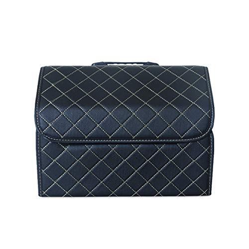 Ergocar Kofferraum Organizer Luxus-PU-Leder Aufbewahrungstasche Organizer Wasserdicht Faltbar Kofferraum-Tasche für Auto/LKW/SUV (Schwarz-M)