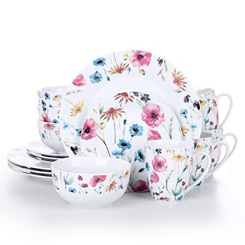 VEWEET, Tafelservice Serie 'Doris' aus Porzellan, 16-teilig Kombiservice beinhaltet 10,75 '' Speiseteller, 7,5 '' Desserteller, 5,5 '' Schüssel und 380ml Kaffeebecher,Komplettservice für 4 Personen