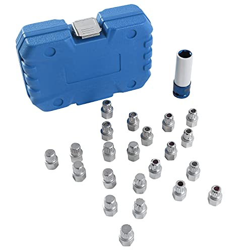PLAYOCCAR Felgenschloss Knacker Radschloss-Entferner-Set Kompatibel mit VW, 23-teilige Auto Diebstahlsicherung Felgenschlösser Schlüssel Adapter