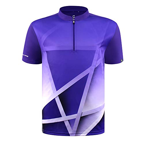 SAVALINO Men's Bowling Sublimation Printed Jersey, Material Wicks Sweat & Dries Fast, Size S-6XL Purple