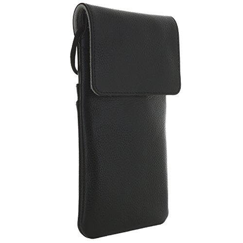 XiRRiX leren hoes schoudertas/borsttas - voor mobiele telefoon Smartphone geschikt voor LG Huawei Mate Honor Motorola Moto Samsung Galaxy Note, bis 163 x 83 x 12 mm, zwart (narbig)