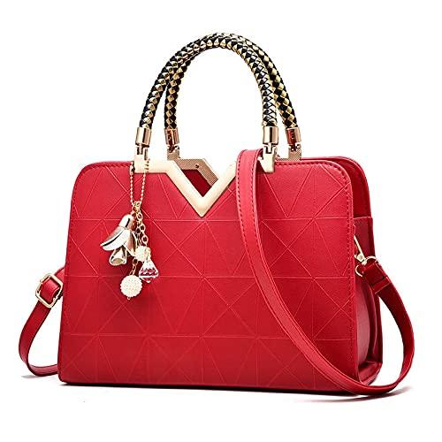 Bolso Femenino para Damas Bolsillo con Cremallera con Cremallera de Mujer de Moda Moda de Lujo Bolsos de Mano para Mujer Bolsas de Cruz del Hombro (Color : Red, tamaño : 28x11x19cm)