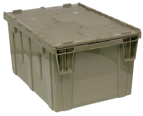 Quantum QDC2420-12 Plastic Storage Container with Attached Flip-Top Lid, 24' x 20' x 12', Gray
