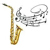 Cortinas Opacas en 3D, Cortinas de Fibra de poliéster con Estampado de saxofón, decoración de Sala y Dormitorio, reducción de Ruido y frío (108'x63'), 2 Paneles