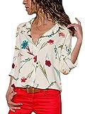 Minetom Donna Camicetta Chiffon Blusa Elegante Camicia Manica Lunga Scollo V (S-XXL) Bianca IT 46