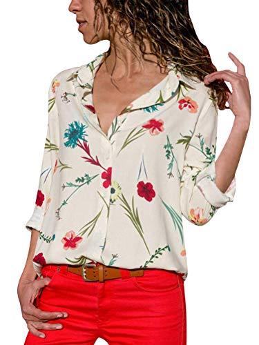 ShallGood Mujeres Camisa Elegante Blusa Floral Embroidered Stand Cuello Blusa Primavera Verano Floral Camisa Manga Larga Irregulares Tops Camisas