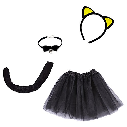 Etistta 4-Piece Halloween Black Cat Costume for Girls Kitty Costumes Accessories for Kids Headband, Tail, Bow Tie Necklace, Tutu