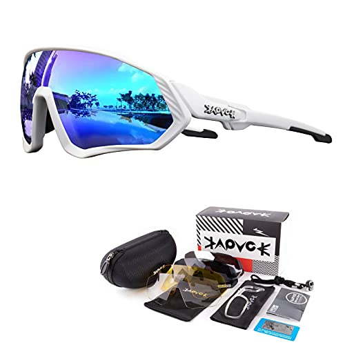 KAPVOE Gafas de Ciclismo Polarizadas con 5 Lentes Intercambiables para Hombres Mujeres Pantalla Completa TR90 Gafas de Sol Ligeras para Ciclismo Deportivo MTB 07