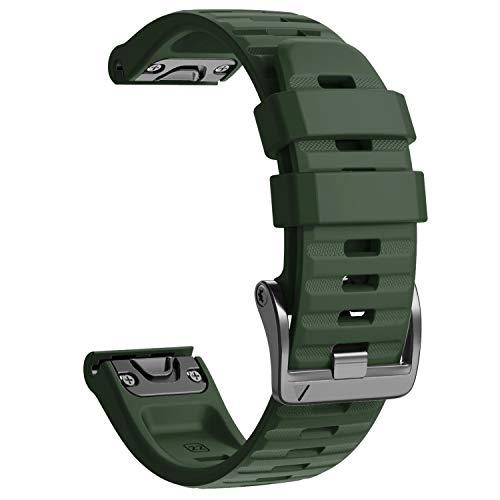 NotoCity Cinturino per Garmin Fenix 6/Fenix 6 PRO/Fenix 5/Fenix 5 Plus/Forerunner 935/945, 22mm Cinturino di Ricambio in Silicone, Braccialetto Quick-Fit, Colori Multipli. (Esercito Verde)