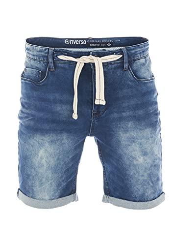 riverso Męskie jeansy spodenki RIVPaul krótkie spodnie lato bermudy Stretch Denim szorty dresowe bawełna szaro-niebieski ciemnoniebieski w30 w31 w32 w33 w34 w36 w38 w40 w42