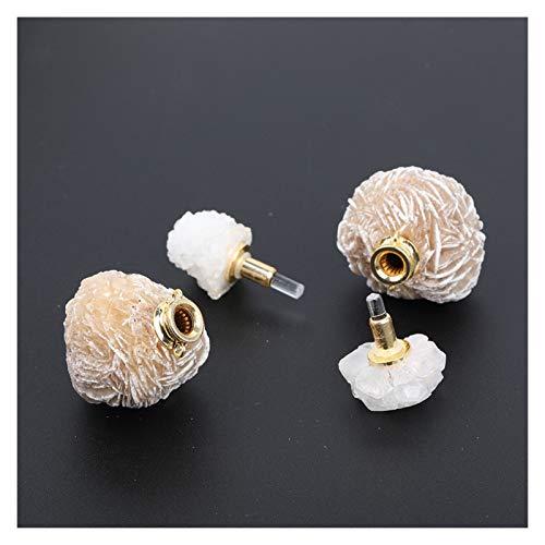 HETHYAN Delicadas mujeres naturales desierto rosa ágata piedra mini botellas de perfume oro cobre colgante collar (color: 1)