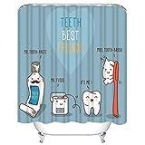 Set di tende da doccia Denti Best Friends Dentifricio Spazzolino da denti Filo interdentale Dentale Bambini Odontoiatria Tessuto in poliestere Decor con 12 ganci Impermeabile Lavabile 12 Asole per bag