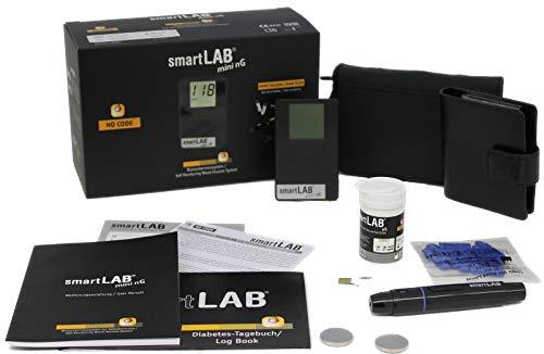 smartLAB mini nG Blutzuckermessgerät Bundle in mmol/L in Scheckkartenformat Schwaz mit 50 Teststreifen und 50 Lanzetten
