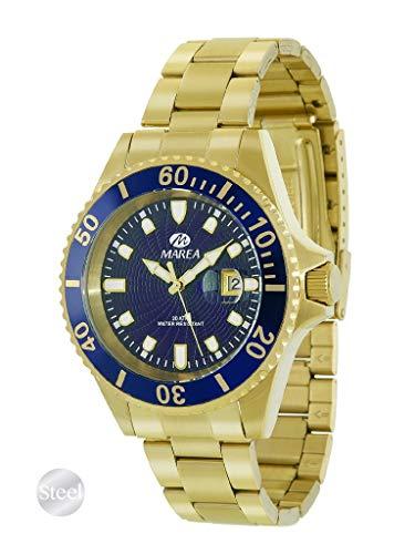 Reloj de Acero Marea Analógico Hombre B36094/15 Dorado con Esfera Azul y Calendario