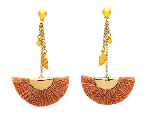 Damen Ohrringe Maxi-Quaste Terracotta Rosé mit Anhänger Blatt und Herz Länge ca. 8cm Ear-Pin Quasten-Ohrringe Ohrhänger Quaste Ohrstecker Gold nickelfrei