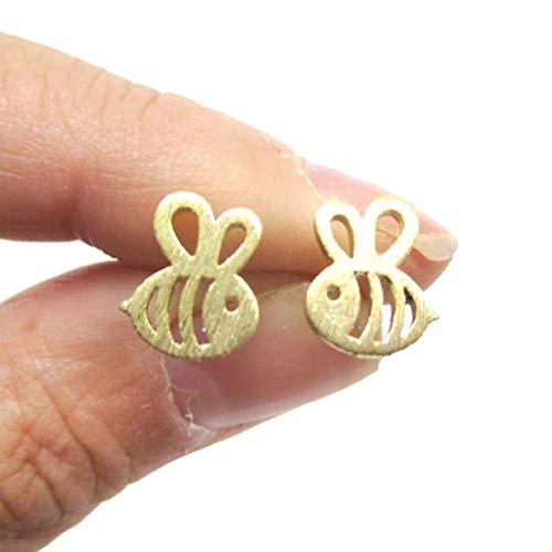 Un-brand 1 par de pendientes con forma de abeja hueca para mujer, accesorios de joyería de oro, calidad adorable y...