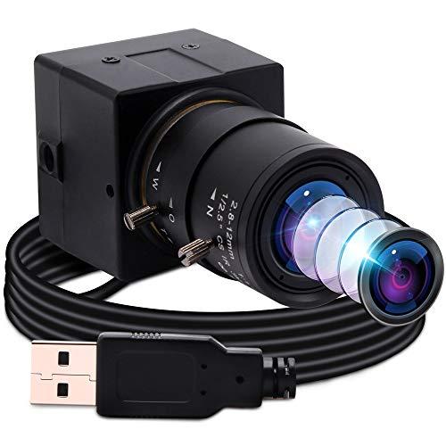 ELP Webカメラ 200万画素 ウェブカメラ web会議用カメラ 広角ミニカメラ 調節可能な2.8-12 mm可変焦点レンズ 望遠ズームカメラ 低照度 フルHD 1080P H.264 UVC カメラUSB Mac OS/Android/Linux/Raspberry pi対応 高画質 Windows10 外付けカメラUSBFHD06H-SFV(2.8-12mm)