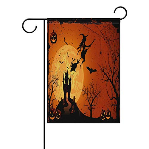 Sweetmen Halloween Double Sided Polyester Garden Flag 12 X 18 Inches, Haunted House Witch Decorative Flag for Party Yard Home Decor