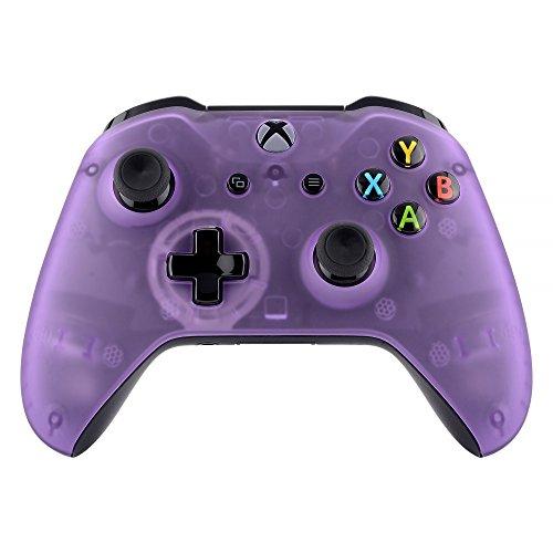eXtremeRate Soft Grip Cover Custodia Anteriore Copertura Frontale Scocca DIY Pezzo di Ricambio per Xbox One S X Controller Model 1708(Trasparente Viola Nebbioso)