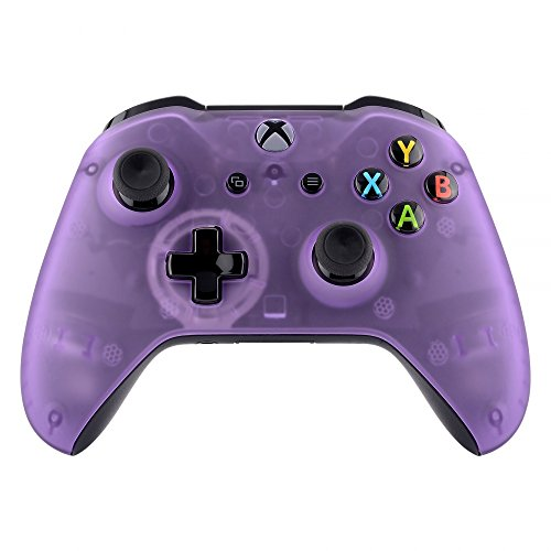 eXtremeRate Foggy Clear Purple Faceplate Cover for Xbox One Wireless Controller (Model 1708), Custom Replacement Front Housing Shell for Xbox One S & Xbox One X Controller - Controller NOT Included