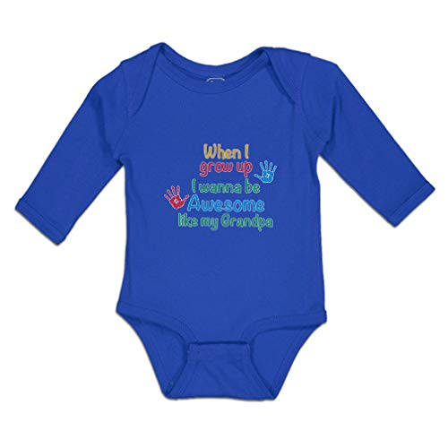 Baby Clothes Long Sleeve Bodysuit When I Grow up Wanna Be Awesome Like My Grandpa with Handprint Boy & Girl Cotton Royal Blue Design Only 6 Months