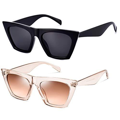 Mosanana 2 pares de gafas de sol de moda para mujeres Square Cat Eye Style MS51801, (Negro y marrón claro), Small