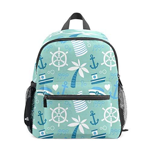 Mochila infantil para niños de 1 a 6 años de edad, mochila perfecta para niños pequeños a guardería, gorra, brújula, ancla, barco, árbol tropical
