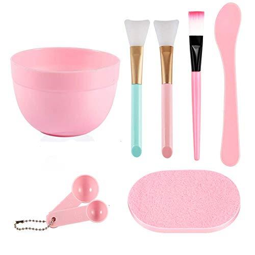 MWOOT DIY Gesichtsmaske Pinselset, 3Stk Gesichtsmaske Pinsel, Bürste, Gesichtspflege Schüssel, MessungsLöffel Kit, Schwamm, Gesichtspflege Tools Kit