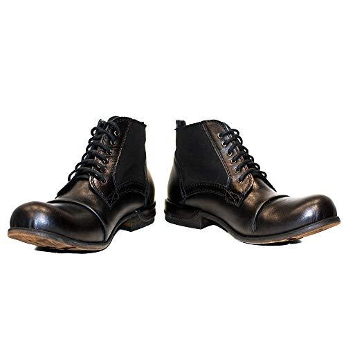 PeppeShoes Modello Vieste - EU 45 - US 12 - UK 11-30 cm - Handgemachtes Italienisch Bunte Herrenschuhe Lederschuhe Herren Schwarz Stiefel Stiefeletten - Rindsleder Handgemalte Leder - Schnüren