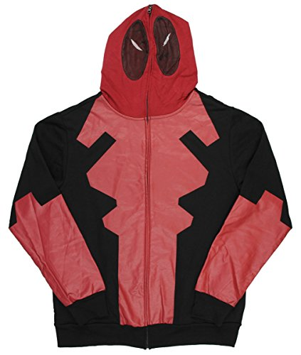 Marvel Comics Deadpool Disfraz Máscara Full Zip Hoodie Mens película Medio Leyenda Pop