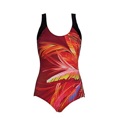 winkwink Leaves Print One-Piece Swimsuit Summer Women XL-5XL Plus Size Swimwear Bodysuit Beach Bathing Suit-Black brown1-XL