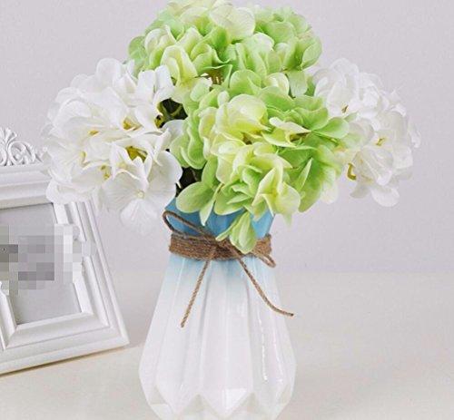 ZJJJH Kunstbloemendecoratie stijl pastoraal roos kunstbloemen vaas keramiek woonkamer decoratie party groen hortensia producten van de bloemen bevat: kunstmatige bloemen