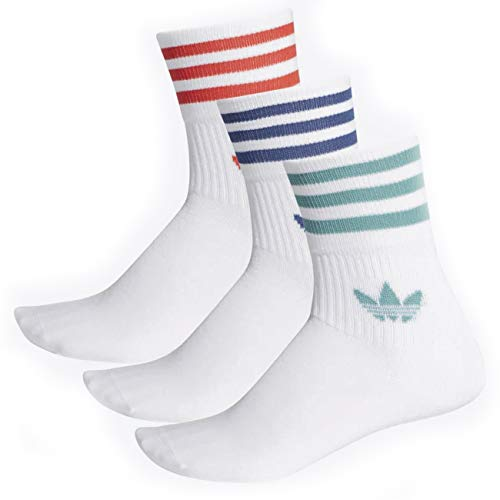 adidas Unisex Mid Cut Crw Sck Socken, top:white/White/White bottom:lush red s16/future hydro f10/Night marine, 43-46