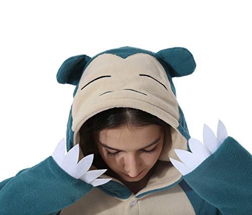 Jumpsuit Tier Pyjama Snorlax Onesie Fasching Halloween Kostüm Schlafanzug Cosplay Pyjama Erwachsene Damen Karneval Einteiler Blue M