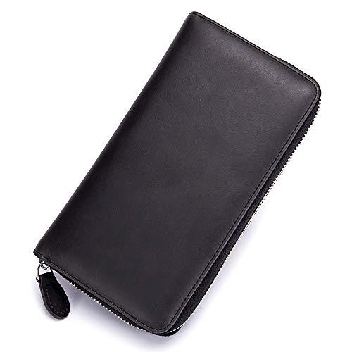 Bolso largo de los hombres de viaje de negocios bolsa de embrague de cuero genuino RFID bloqueo de la cartera plegable de gran capacidad mujeres cremallera órgano titular de la tarjeta