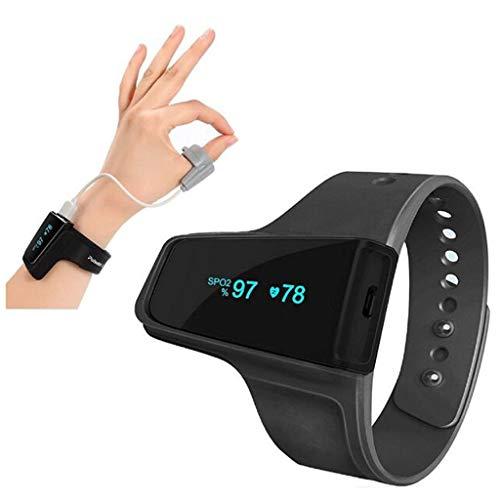 Hjgyugyutuy Reloj de Alarma del Detector de oxígeno del sueño del oxímetro, Monitor de Pulso del Ritmo cardíaco del Monitor Ayuda Bluetooth inalámbrico sueño, Mate Anti ronquidos para máquina CPAP