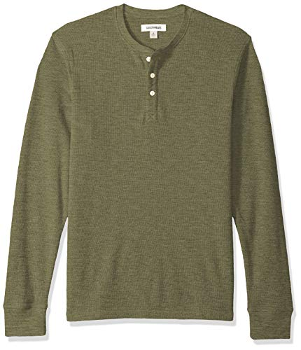 Marca Amazon - Goodthreads - Camiseta térmica flameada de manga larga y cuello Henley para hombre, Verde (olive), US M (EU M)