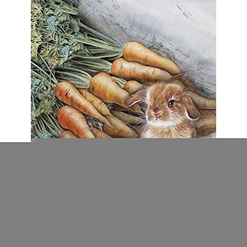 Diamond Painting, Nabo Conejo, Cuadros Diamantes Pintura 5D DIY para Adultos/Niños, Bordado Diamante Punto de Cruz Artes Manualidades, para Decoración de la Pared del Hogar Square Drill,90x120cm