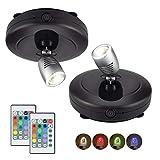 HONWELL Foco LED inalámbrico con batería,luz de disco con control remoto,temporizador de iluminación RGB para tablero de dardos, iluminación de imágenes giratoria para pintura de espejo,2 piezas,negro