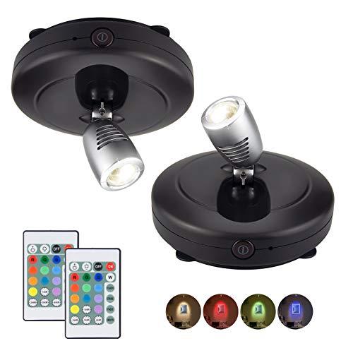 HONWELL LED Spot Wireless Deckenstrahler mit Fernbedienung, Wandleuchte Batteriebetrieben Dartscheibe Beleuchtung Timer Deckenspot Drehbar Licht Kopf für Spiegelanstrich Dartscheibe, Schwarz, 2 Stück