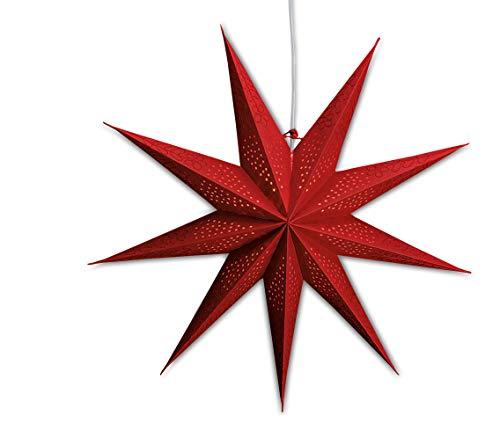 levandeo Leuchtstern mit 9 Zacken in rot 60cm Papiertstern Weihnachtsstern inklusiv Kabel mit Schalter 3,5 Meter