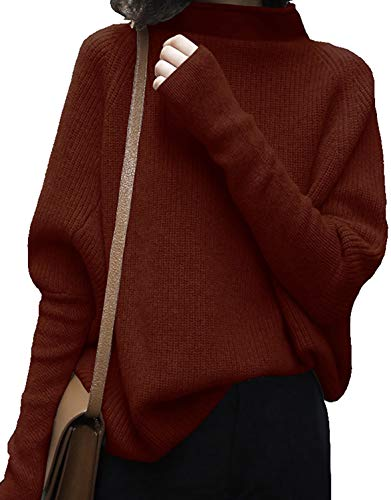 LongMing Damen Rollkragenpullover Oversized Loose Fledermaus?rmel Winterpullover Damen Wolle Pullover Sweater (S, Caramel)