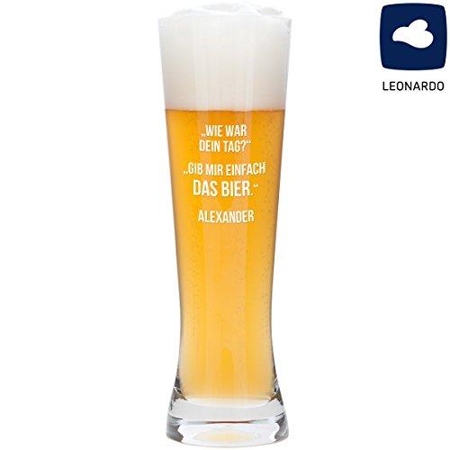 Geschenke 24 bierglas - Jouw Tag: grappig Leonardo witglas met gravure - opvallende spreuk voor bierdrinkers - optioneel gepersonaliseerd met de naam naar keuze