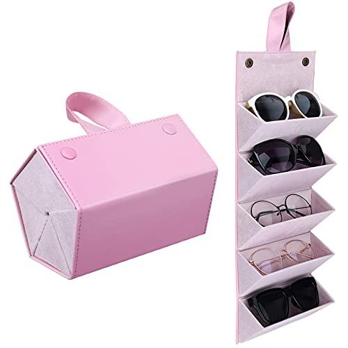MoKo Estuche de Gafa para Almacenar 5 Anteojos, Gafas de Sol Presentación Gafas Pantalla, Organizador Portátil Caja de Cuero para Gafas Estuche para Guardar para Hombre y Mujer, Rosa