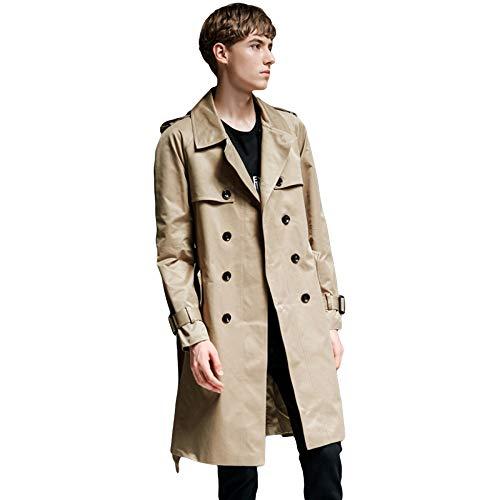 MERRYHE Herren Gürtel Zweireiher Trenchcoats Langarm Jacken Vintage Khaki Mantel Topcoats Oberbekleidung,Beige-3XL(Bust/120cm)