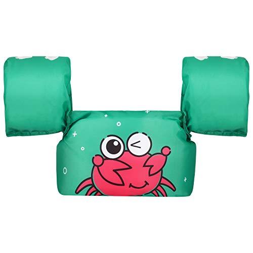 HeySplash Chaleco de Natación para Bebé, Manguitos Flotantes Entrenamiento para Nadar Flotador de Brazos con Correa Ajustable Hebilla Segura para Niños de 9-22 kg, Verde