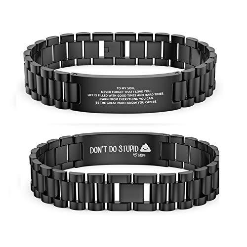 Kexle To My Son Bracelets, Bracelets for Men Stainless Steel Mens Bracelet to Encouraging Son/Daughter Don't Do Stupid from Mom Black Bracelet Gift Boys' Bracelets for Birthday Graduation Every Day