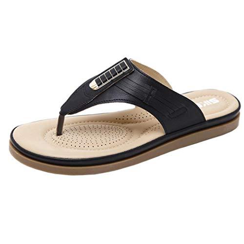 FORUU Summer New Sandals Womens Shoes Bohemian Wedge Flops Buckle Beach Sandals