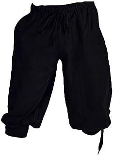 MEIHAOWEI Pirata Vikingo Renacimiento Pierna Vendaje Pantalones Sueltos Disfraces de Halloween para Hombre Pantalones Adultos Hombre Pantalones Medievales Cosplay
