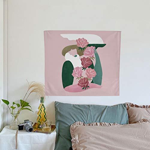 KHKJ Toalla de Playa con Estampado geométrico Hermosa niña patrón decoración Sala de Estar decoración del hogar Tapiz Colgante de Pared A12 150x130cm